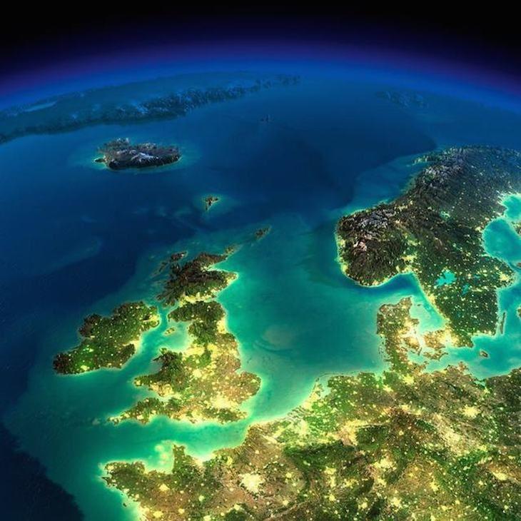 imagens noturnas da nasa - Norte da Europa, Ilhas Britânicas, Irlanda e Escandinávia