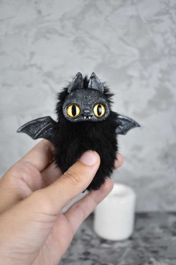 Black cat plush stuffed art doy creature