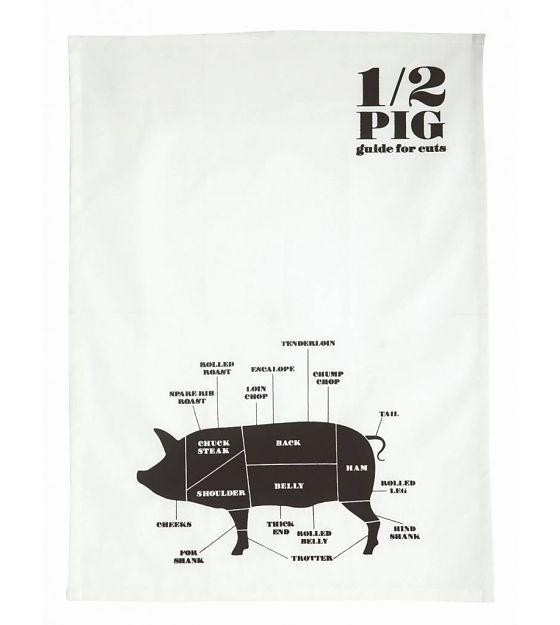 Nicolas Vahe Theedoek '1/2 Pig' wit/zwart katoen 50x70cm - wonenmetlef.nl