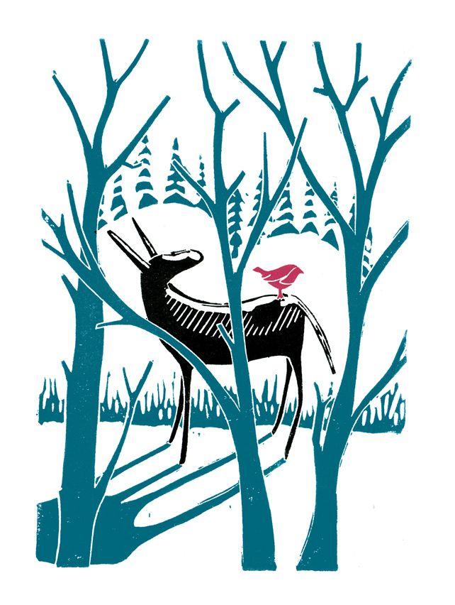 Donkey & Bird poster-print £8.00