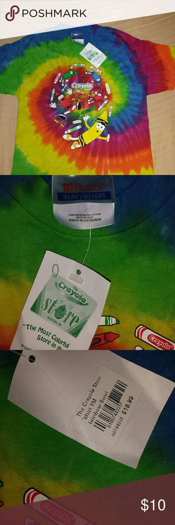 Crayola store tie dye t shirt kids size m BNWT Brand new tire dye, hanes heavyweight t shirt  from crayola factory in Easton,  PA. Shirts & Tops Tees - Short Sleeve