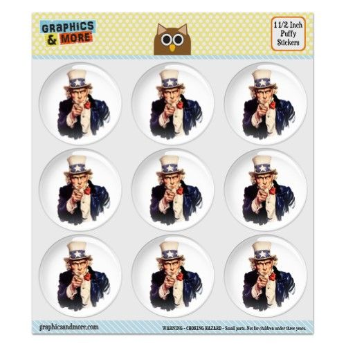 Uncle Sam USA Puffy Bubble Dome Scrapbooking Crafting Stickers - Set of 9 - 1.5' (38mm) Diameter Each