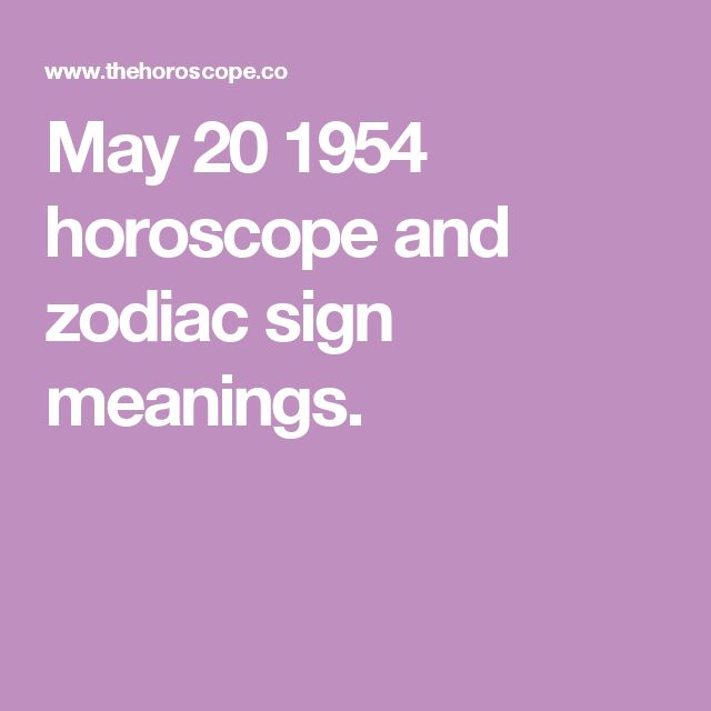 May 20 1954 horoscope and zodiac sign meanings.
