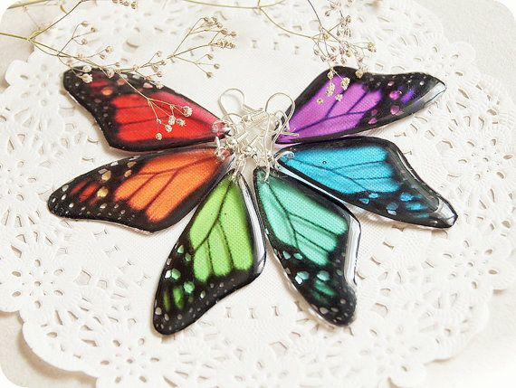 Resin transparent earrings rainbow butterfly wing by YaTomkaStore, $19.00 #Etsy