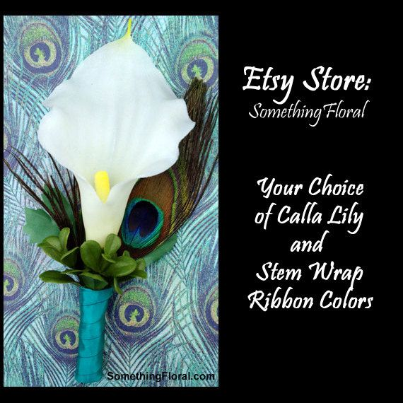 Calla Lily and Peacock Feather Boutonniere by SomethingFloral Something just like this from Hobby Lobby