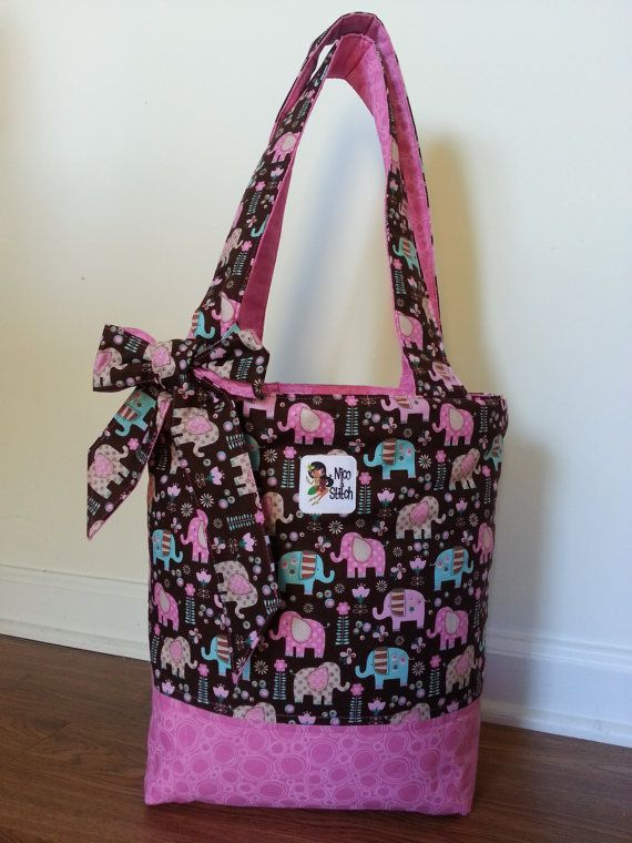 The Bucket Tote Pink Elephants by NicoAndStitch on Etsy