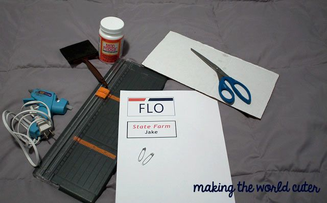Supplies for easy DIY name tags for last minute Halloween costumes. It's Jake from State Farm and Flo. Free Printables | Making the World Cuter