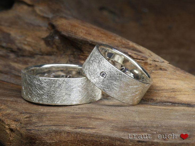 Eheringe - Trauringe EISMATT aus 925 Silber, 8mm breit - ein Designerstück von schmucke-sachen-traut-euch bei DaWanda