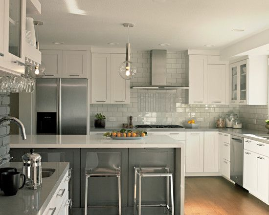 Gray and white Contemporary Kitchen White And Wood Design, Pictures, Remodel, Decor and Ideas - page 28