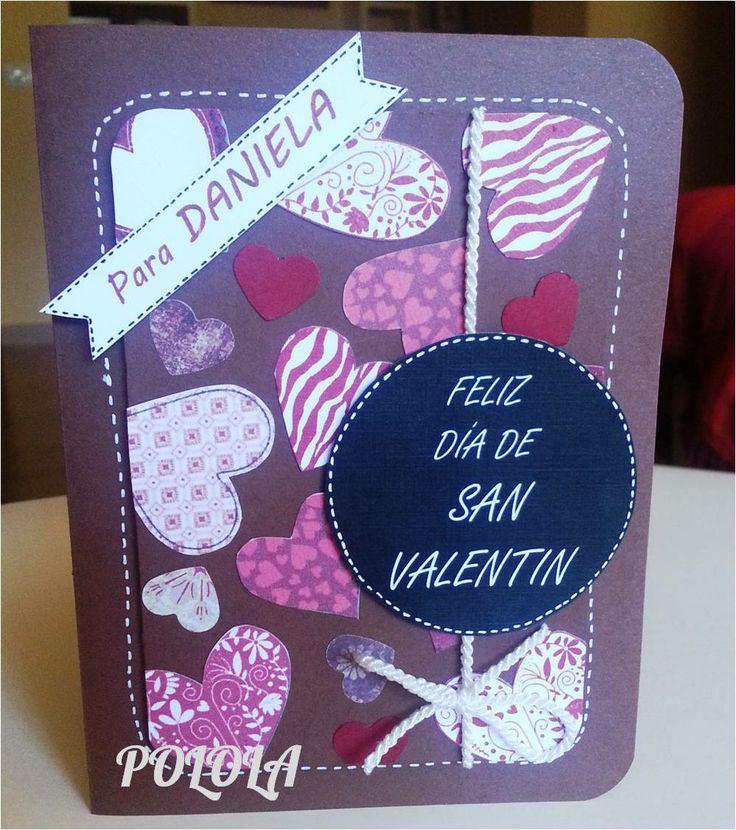 Tarjeta de Amor para san valentin. Hecha a mano. Tamaño: 6¨x4,5¨ Ref: tcesv02
