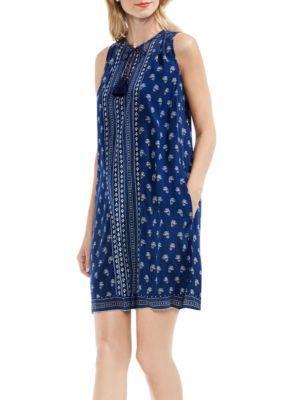 Vince Camuto Women's Paisley Stamp Sleeveless Swing Dress - Indigo Tile - Xl