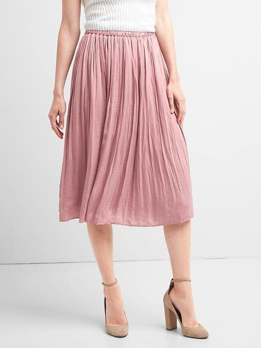 Gap Womens Pleated Midi Skirt Princess Pink