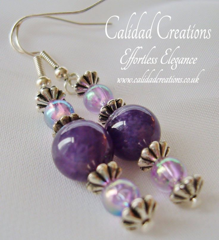 Amethyst and lilac lustred drop earrings available on the website www.calidadcreations.co.uk