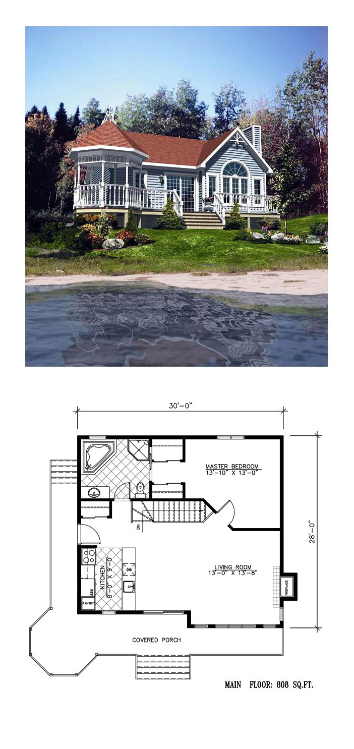 Victorian House Plan 48158 | Total Living Area: 808 sq. ft., 1 bedroom and 1 bathroom. #victorianhome