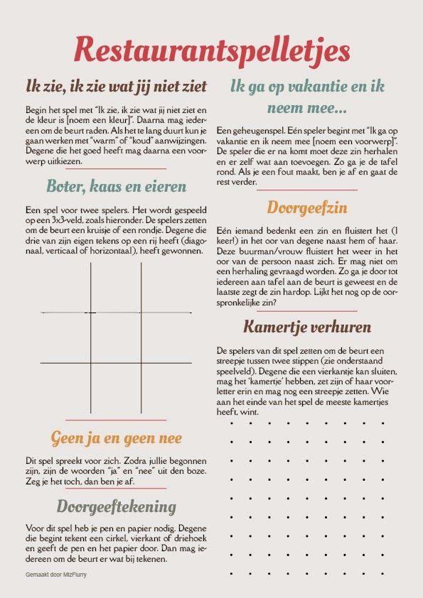 7 spelletjes om te spelen met kinderen tijdens het wachten in een restaurant. Gratis te downloaden en printen