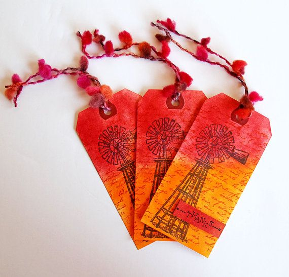 Thank You Tags with Country Windmill in Fiery Orange and Red