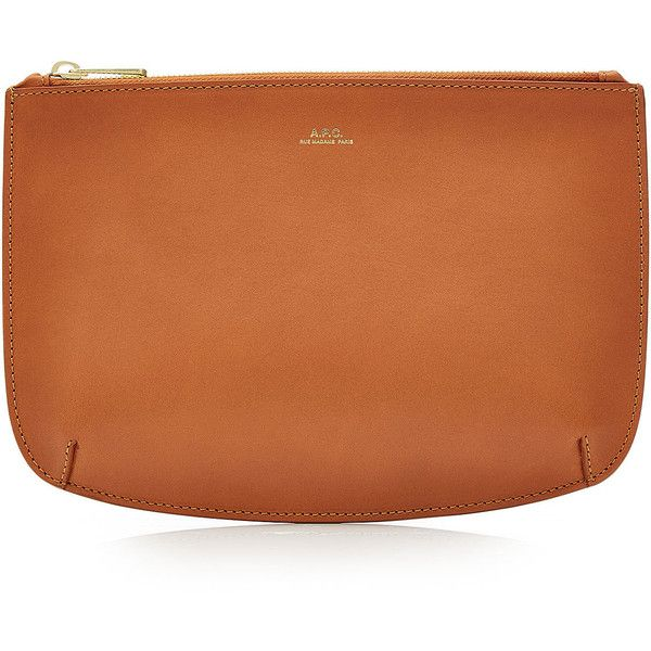 A.P.C. Leather Pouch ($159) ❤ liked on Polyvore featuring bags, handbags, clutches, brown, orange purse, orange clutches, brown leather purse, orange leather handbag and leather purses