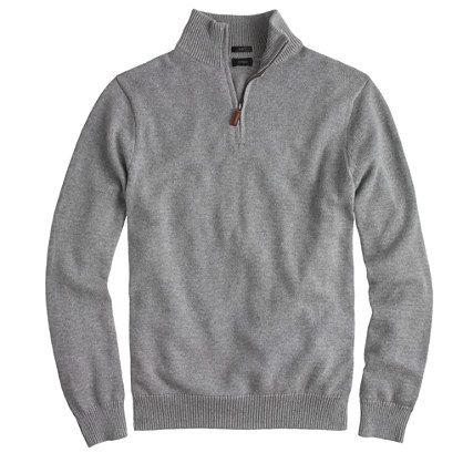 Slim cotton-cashmere half-zip sweater - In Heather Grey - Size Medium