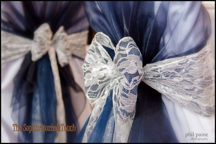 Navy Blue Organza Shawls with Double Navy Organza and Lace Bows  The Sophisticated Touch ...Chair Covers by Design photo with thanks to Phil Payne Photography
