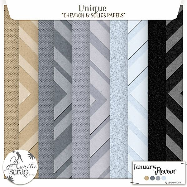 "Chevron & Solids Papers ""Unique"" digital scrapbooking kit by Aurelie Scrap. A winter touch in this chevron & solids papers pack. I propose you this pack of chevron & solids papers which can only embellish your most beautiful photos. Here is my January Flavour 2016."