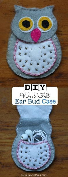 Make an ear bud case using this sweet owl pattern. This is a simple sewing project suitable for beginners who want to work with wool felt and embroidery thread. (scheduled via http://www.tailwindapp.com?utm_source=pinterest&utm_medium=twpin&utm_content=post22364600&utm_campaign=scheduler_attribution)