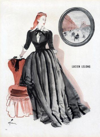 Lucien Lelong 1945 Evening Gown René Gruau