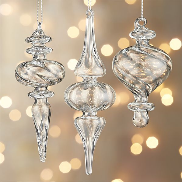 Clear blown-glass elongates in optically intriguing, light-reflecting finial  ornaments, available in three different shapes and sizes. | Holiday Ideas  ... - Clear Blown-glass Elongates In Optically Intriguing, Light