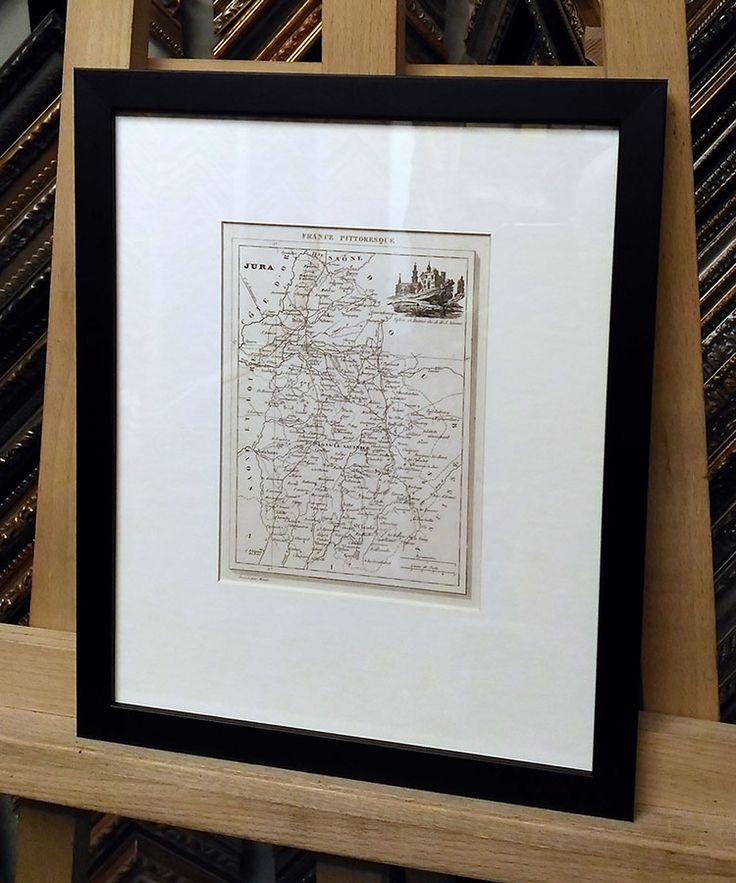 Карта, Франция, департамент Jura. Деревянный багет, паспарту, стекло.