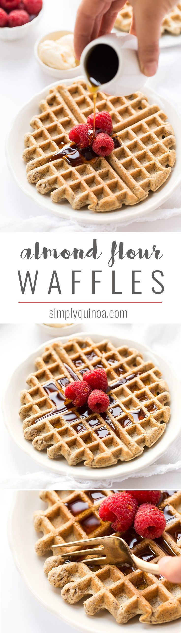 These ALMOND FLOUR WAFFLES are what breakfast dreams are made of! With a blend of wholesome, high-protein flours they're hearty and fluffy at the same time! feat. @almondbreeze #partner