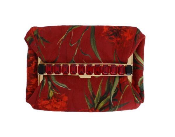 Red Roses Print Crystal Clutch Purse Bag Dolce & Gabbana  €678.00