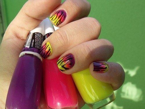 nails: Nails Colors, Manicures Ideas, Spring Nails, Amazing Nails Art, Zebras Nails, Nails Polish, Neon Nails, Long Nails, Nails Art Design