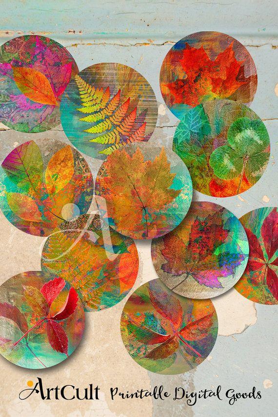 """3.5"""" imágenes de círculo de tamaño para imprimir descargar Digital Collage hojas de otoño hojas para espejos de bolsillo, posavasos, pisapapeles. ArtCult diseños"""