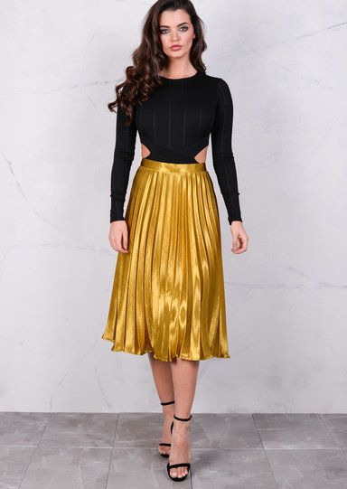e97a2e089d45 Pleated Satin Metallic Midi Skirt Mustard Gold in 2019 | Style ...