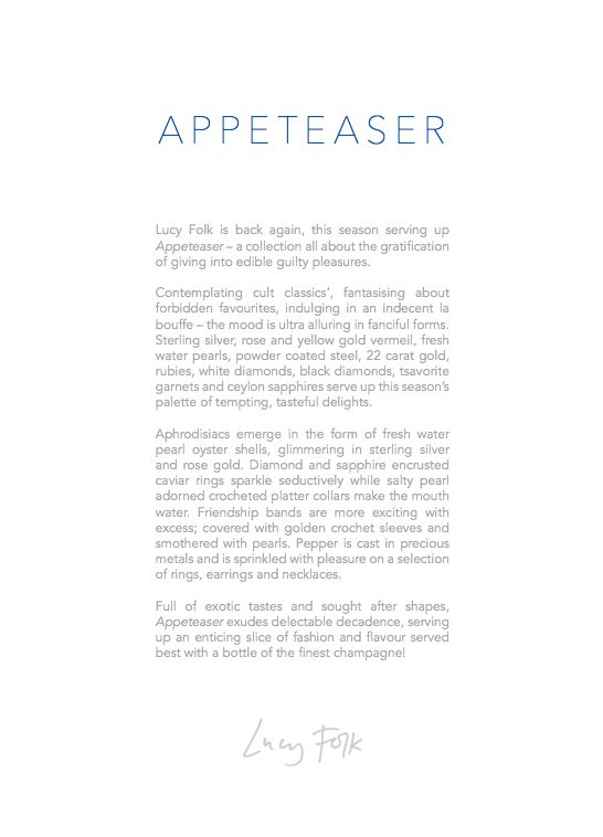 Lucy Folk presents APPETEASER - NH: Autumn/Winter 2014 / SH: Spring/Summer 2014