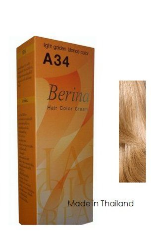 Berina Hair Color Cream Permanent A34 -Light Golden Blonde color >>> Click on the image for additional details. #haircolor