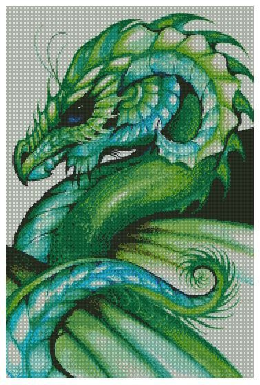 You are bidding on a cross stitch pattern only of a green dragon. This is not a kit, just the pattern and DMC color chart. This pattern is rated