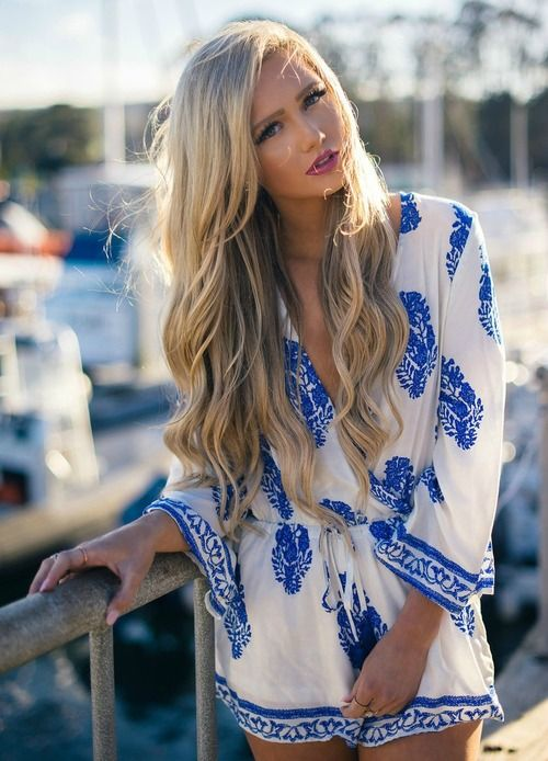 Floral Short Romper! Summer Fashion, Restock! Romper, Short, 3/4 sleeve, Blue, White, Design, Tie, V- neck, Cute, Online Boutique