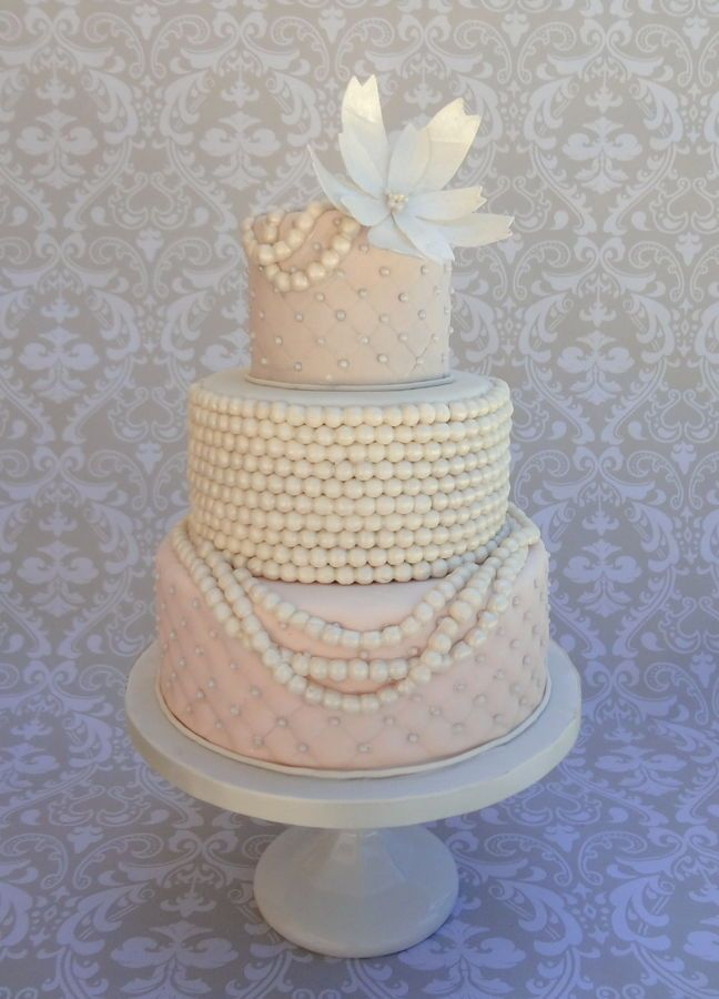 Pearl and quilted wedding cake; my first time doing pearls like this. I will probably change a few of my methods for my next go around with ...