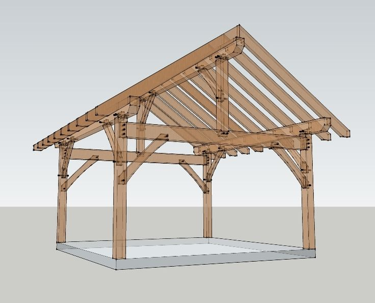 16x16 timber frame plan joinery pavilion and porch for Timber frame porch addition