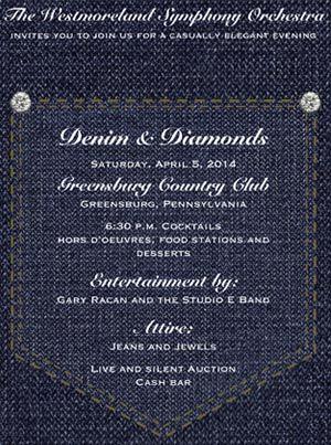 Denim and Diamonds party invitation, diamond studs on jeans