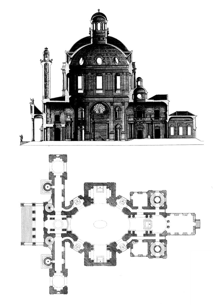 Baroque Architecture Austria Plan Amp Section Karlskirche