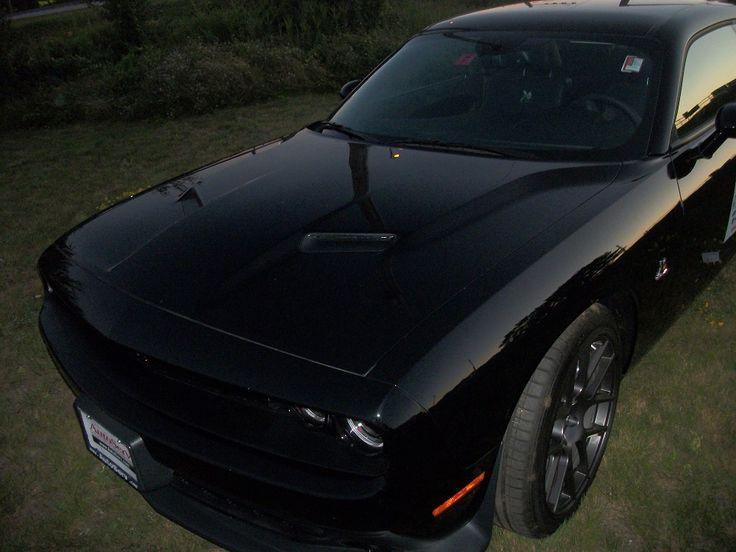 "2016 Dodge Challenger R/T. Triple Black, Black body, Black striping, & Black interior! (Local to me, I took this picture! ""Hemi Patton"")"