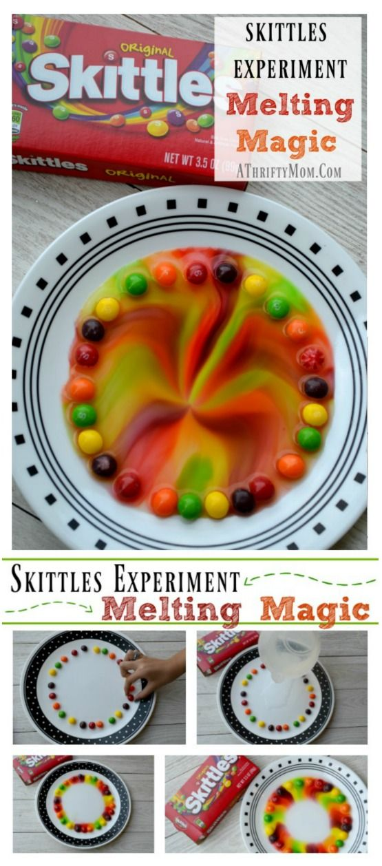 Skittles Experiment Melting Magic - Quick and easy science projects for kids, low cost school science fair projects