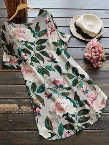 Casual Floral A-Line Dress - GREEN L