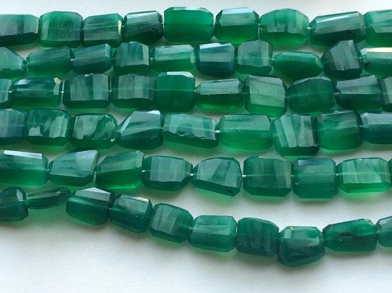 Green Onyx Faceted Tumbles Green Onyx Beads by gemsforjewels