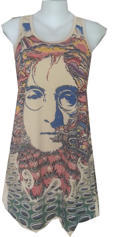 buy online lady mini dress John Lennon Retro Vintage Rock HIPPIE cotton MIRROR #MIRROR #GraphicTee #Casual