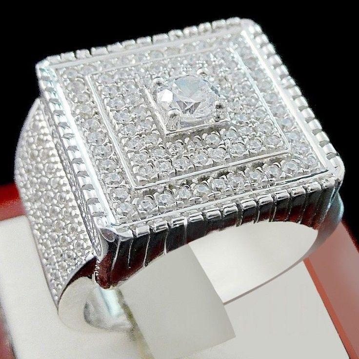 Diamond Pinky Ring Mens 14k White Gold Designer Fashion Statement Band 3.50 Ct. #br925silverczjewelry #MensWeddingPinkyRing #EngagementWeddinganniversaryPartyDailyWear