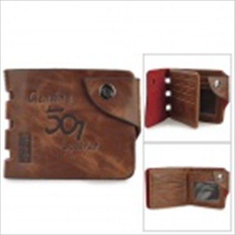Lässige Folding Split Leder-Geld-Geldbörse für Herren - Kaffee
