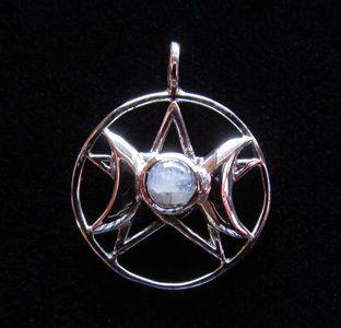 Wicca Supplies, Pagan Supplies, Witchcraft Supplies, Spiritual Supplies - New Awakening - Goddess Triple Moon w/Moonstone Pendant, $25.95 (http://www.wiccasupplies.ca/goddess-triple-moon-w-moonstone-pendant/)