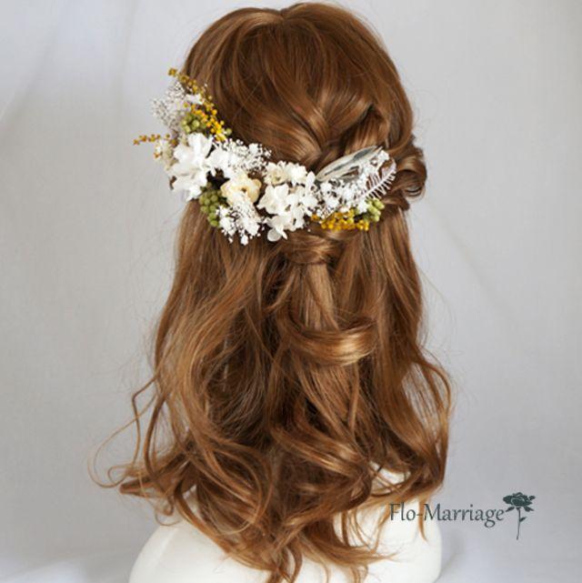 ハーフアップに揺れるミモザが可愛い 季節限定ヘッドドレス 3 6月 ウェディング ヘアスタイル 結婚式 まとめ髪 ブライダル 髪型